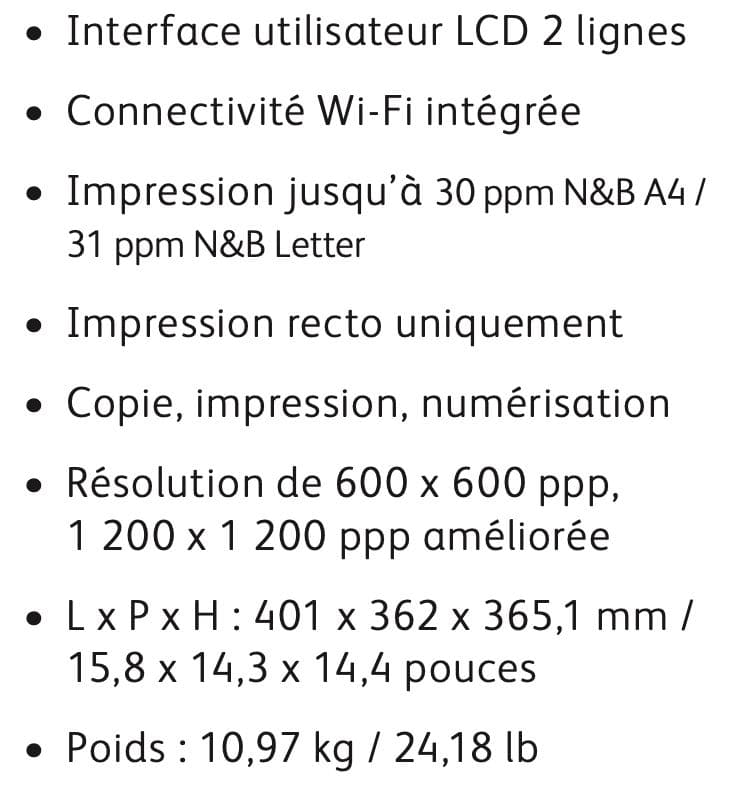 les caractéristiques de l'imprimante Xerox B205