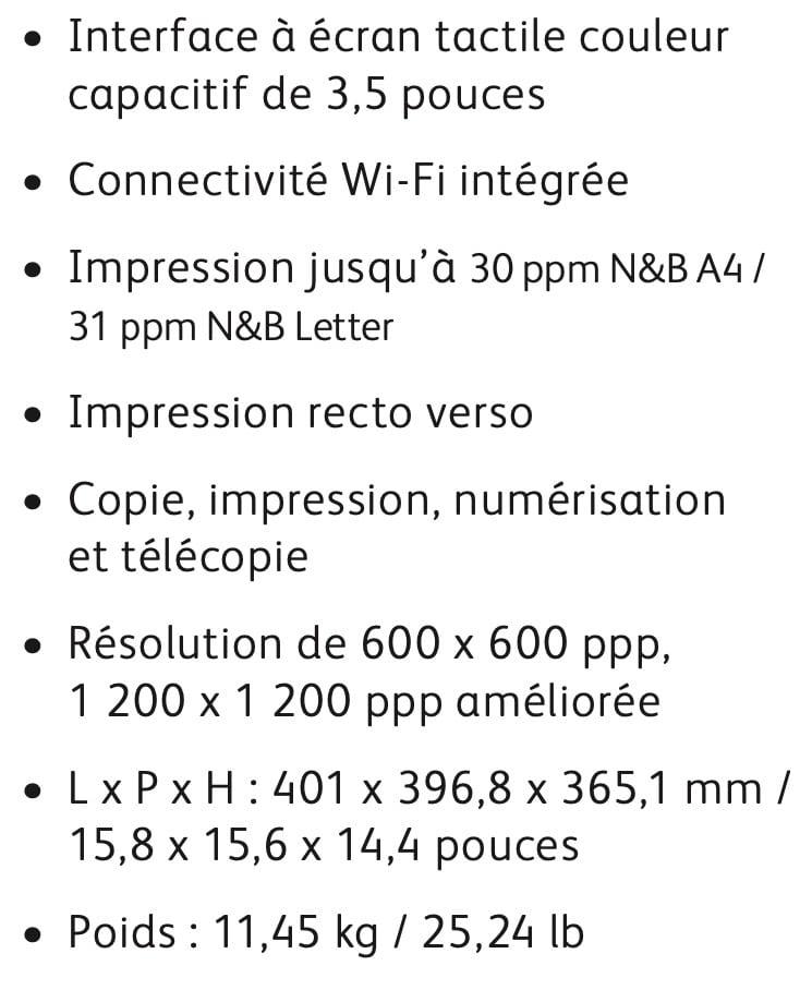 les caractéristiques de la Xerox B215