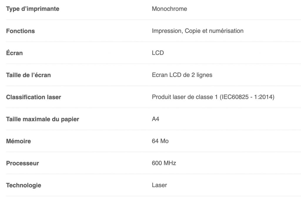 Les caractéristiques de l'imprimante Brother DCP L2510D